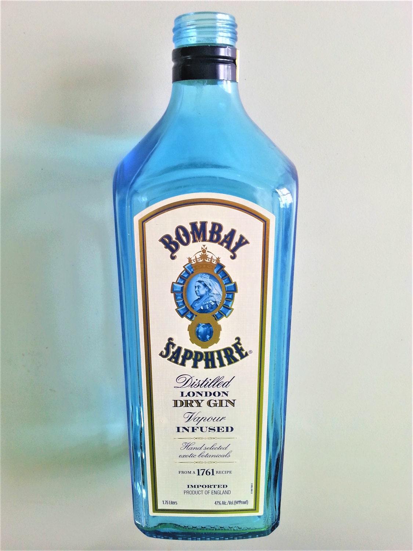 bombay sapphire gin empty l bottle. Black Bedroom Furniture Sets. Home Design Ideas
