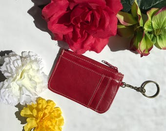 Red leather key chain cardholder wallet coin purse