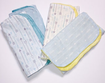 Baby Boy Arrow Burp Cloth Set of 2 - Burp Cloths with Yellow, White or Aqua Dimple Dot Minky; Burpies