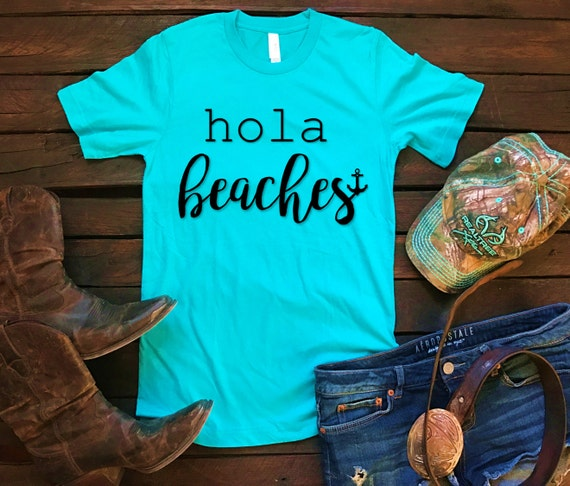 Hola Beaches Unisex T Shirt, Southern T Shirt, Country Shirt, Country Concert,Spring Break, Funny Shirt, Boutique Shirt, Pink Glitter