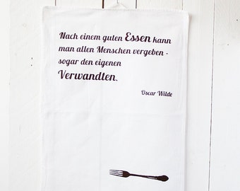 """Tea towel """"after a good meal..."""", Red-Brown"""