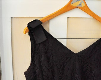 Vintage black lace and satin shift formal dress