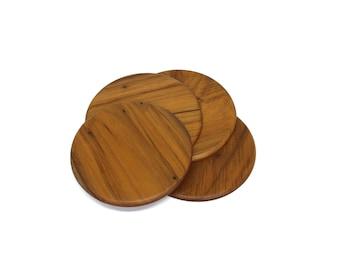 Set of 4 Wooden Round Coasters   Drinks Coasters, Housewarming Gift, Home Decor, Handmade Coasters, Wine Coasters, Kitchen Decor