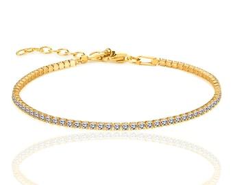 CZ BRACELET-Gold plated silver bracelet-chain bracelet-tiny gold bracelet - dainty everyday jewelry- cubic zirconia braclet