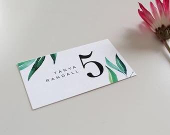 Botanical Place Card   Tropical Place Card, escort card, destination wedding, tropical wedding, modern escort card, place card