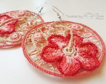 Crochet earrings, Irish crochet earrings, Hoop earrings, Handmade jewelry, Irish crochet, Crochet flowers, Pink and beige earrings
