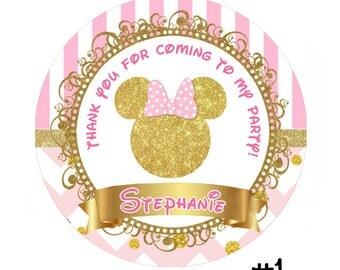 Pink and Gold Minnie Mouse Birthday round sticker - Printable