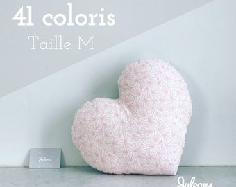 Cushion heart - size M - 41 colours - baby shower gift personalized