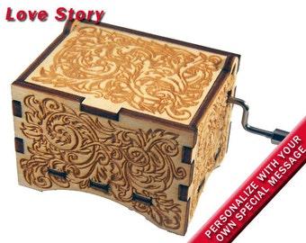 "Ornate Music Box, ""Love Story"", Laser Engraved Wood Hand Crank Music Box"