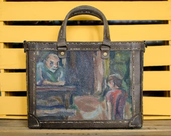 Oil painted bags - Painting Bag - painted canvas bag - Leather bag - vintage oil painting - Medium sized bag