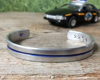 Thin blue line bracelet - blue lives matter - back the blue - police wife - police family - deputy - state trooper
