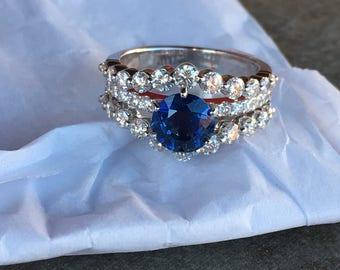 Diamond Sapphire Engagement Ring -REDUCED PRICE!!