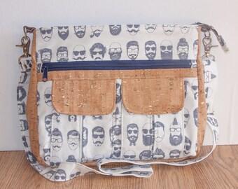 READY TO GO Hipster Cross Body Bag, Cork Leather Cross Body Bag, Cross Body Bag, Cross Body Diaper Bag