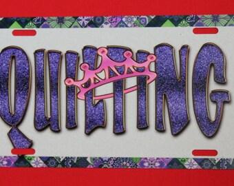 Aluminium License Plate  - Quilting Queen Purple