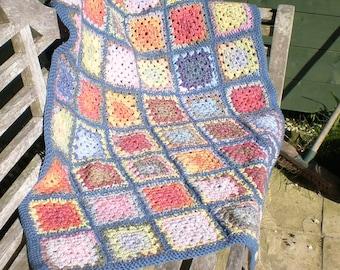 Hand crocheted throw / knee rug / cot blanket