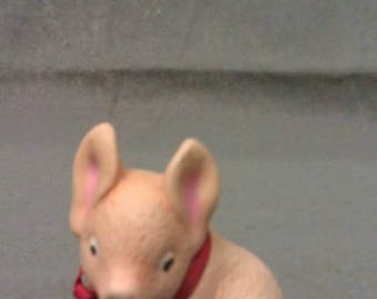 Tan Pig with Pink Ears Pig Figurine