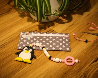 SALE (50%): dental Penguin or bite - and game chain (Pink)