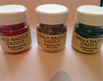 11 embossing powders, card making ,scrapbooking, Stamping, rubber-stamps ,Glitter , Hologram, gold ,silver