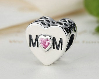 Sterling 925 silver charm love mom bead pendant fits Pandora charm and European charm bracelet