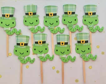 St. Patrick's Day Cupcake Toppers • Lucky Worm • St. Patrick's Day party •
