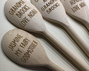 Wooden spoon personalised custom cooking utensil stirring spoon any message