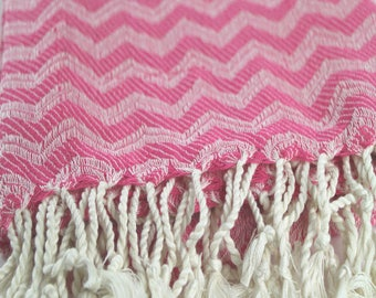 100 % Cotton Hand Made Turkish Towel  in Beautiful Pink Color  Fashion Beach Towel Spa Towel with Fringes
