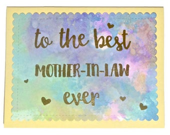 Mother-in-Law Birthday Card, Mother-in-Law Wedding Card, Wedding Card for Mother-in-Law, Blank Card for In Law, Handmade Greeting Card