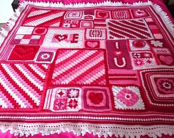 Valentine Crochet Blanket exclusive design love throw valentinesday valentinesgift romantic pink red white