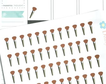 Matt Makeup Brush Planner Stickers, Clean Your Makeup Brushes, Health & Beauty Themed Planner Supplies, Icon Stickers,  Life Planning, HB003