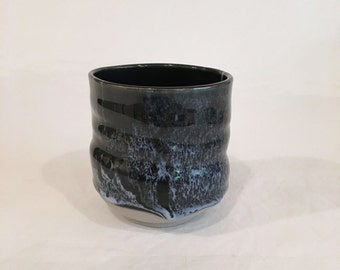 Black Tea Cup, HandMade Cup, Ceramic Cup, Teacup Yunomi 10 OZ, BWWSC14
