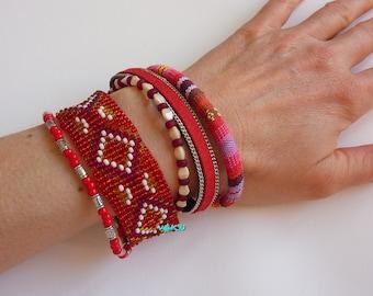 Multi-strand cuff bracelet