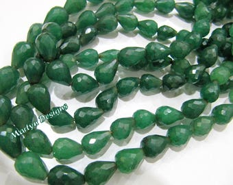 Emerald Tear Drop Beads / Faceted Emerald Straight Drilled Tear Drops Beads/ Strand 22 to 23 inches Long/ Size 7x10mm to 9x14mm/Long Drops