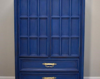 SOLD - Vintage Chest, Mid Century, Cabinet, Dresser, American of Martinsville, Hand Painted, Chalk Paint, Annie Sloan, Napoleonic Blue