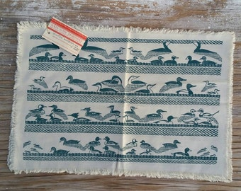 """Folly Cove Designers """"Winter Waterfowl"""" set of four (4) placemats designed and handblocked by Eino Natti, Gloucester Massachusetts"""