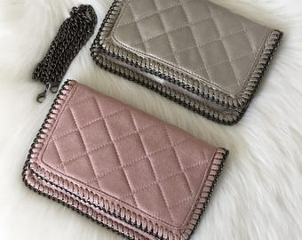 Quilted Bag with Detachable Chain. Evening Clutch. Faux Suede Leather Chain Purse.