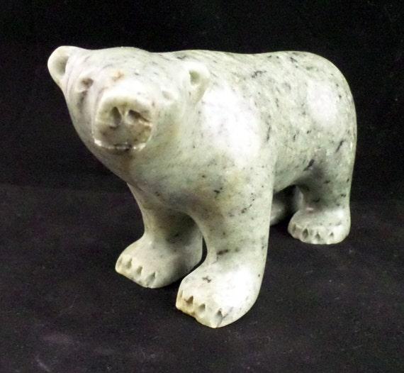 Polar bear inuit art arctic animal soapstone carving