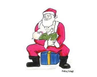 "Santa's Little Helper | 8x10"" Santa Breastfeeding Art Print | Made by Jimbob Original Art | Breastfeeding Art | Normalize Breastfeeding"