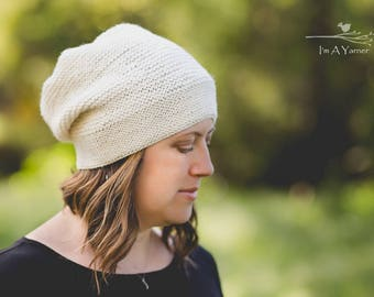 Lightweight Slouchy Hat, White Knit Beanie, Hats for Women, Teen Gift, Graduation Gift, Hand Knit Hat, White Toque, Bohemian Hat, Knit Beret