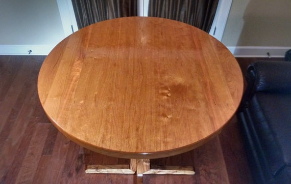 Round Table Top Solid Black Cherry Wood Breakfast Cafe