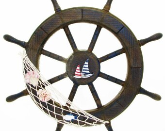 46 cm Wooden Steering Wheel,nautical, HELM,  maritime, MARINE WOOD