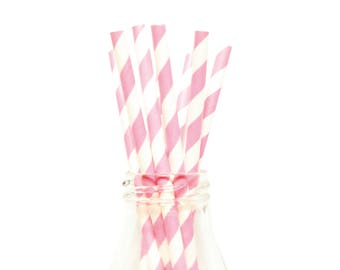 25 Hot Pink Striped Paper Straws, White and Hot Pink Striped Straws, Retro Straws, Hot Pink Party Straws, Birthday Straws, Party Straws.