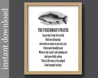 Fishermans Prayer, fish printable, Father gift, fisherman gift, fish wall art, fish decor, fish quote print, fish black and white, fish gift
