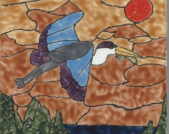 Great Blue Heron #201 Hand Painted Kiln Fired Decorative Ceramic Wall Art Tile 6 x 6