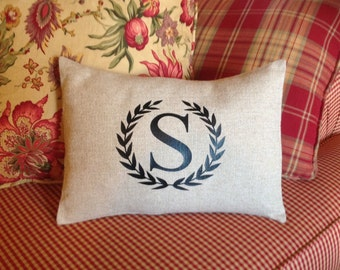 Monogrammed Pillow Cover Throw Pillow Cover Personalized Throw Pillow Cover, Initial Pillow, Pillow Cover, Wreath Framed Letter Pillow