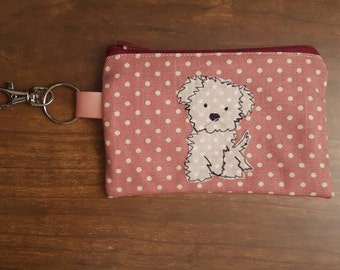 Cute puppy applique small zip key pouch/coin purse using machine free- motion embroidery, puppy dog key holder, personalised, GBP 7.50