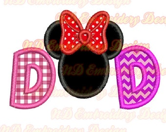 Minnie Dad  applique design, mouse face father's day,  ms-137