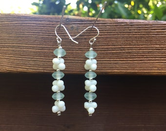 Blue and White Dangle Earrings, Recycled Glass Earrings, White Coral Earrings, Blue and White Bead Earrings, Light Blue Bead Earrings,