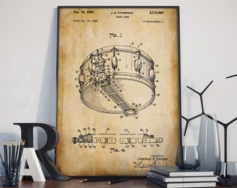 Snare Drum Poster| Drum Poster| Drummer Gifts| Patent Prints| Drummer| Instruments Patent| Snare Drum| Wall Art Print| Drums Wall Art|HPH227
