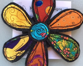 Handmade felt and fabric flower brooch
