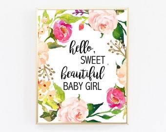 Baby Girl Nursery, Nursery wall art girl, Floral Nursery Print, Baby Decorations, Baby Nursery Decor, Baby Quotes, Nursery Printables, Art